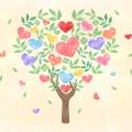 葉っぱと花_ハート形の木